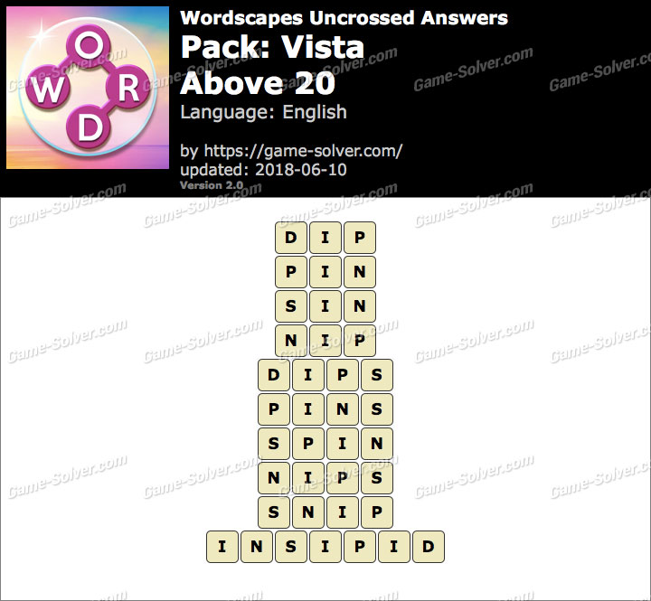 Wordscapes Uncrossed Vista-Above 20 Answers