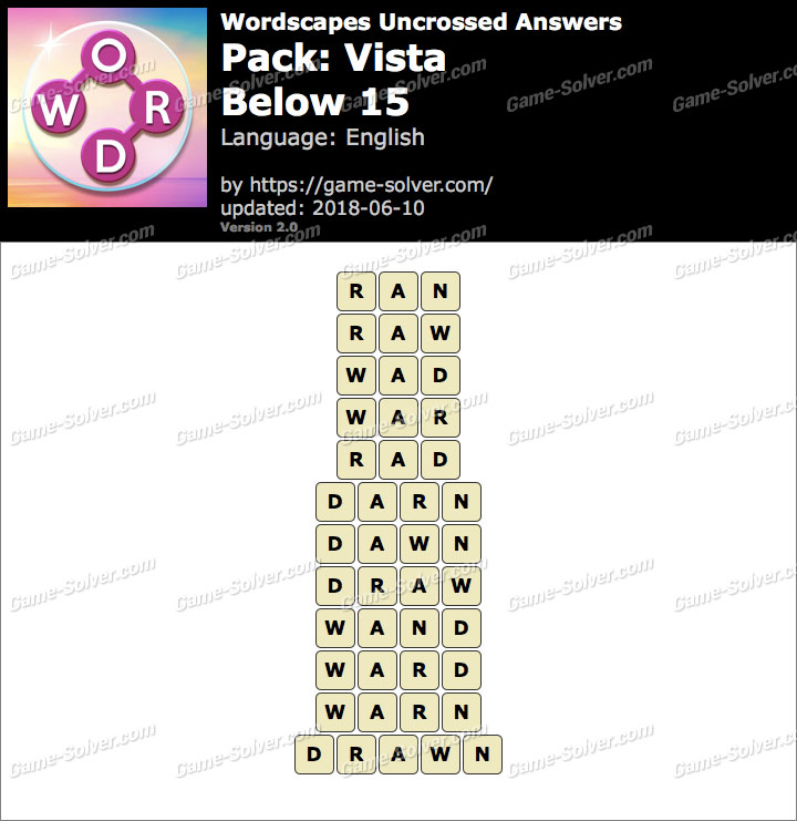 Wordscapes Uncrossed Vista-Below 15 Answers