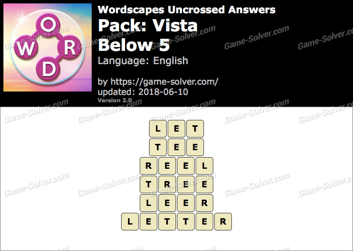 Wordscapes Uncrossed Vista-Below 5 Answers