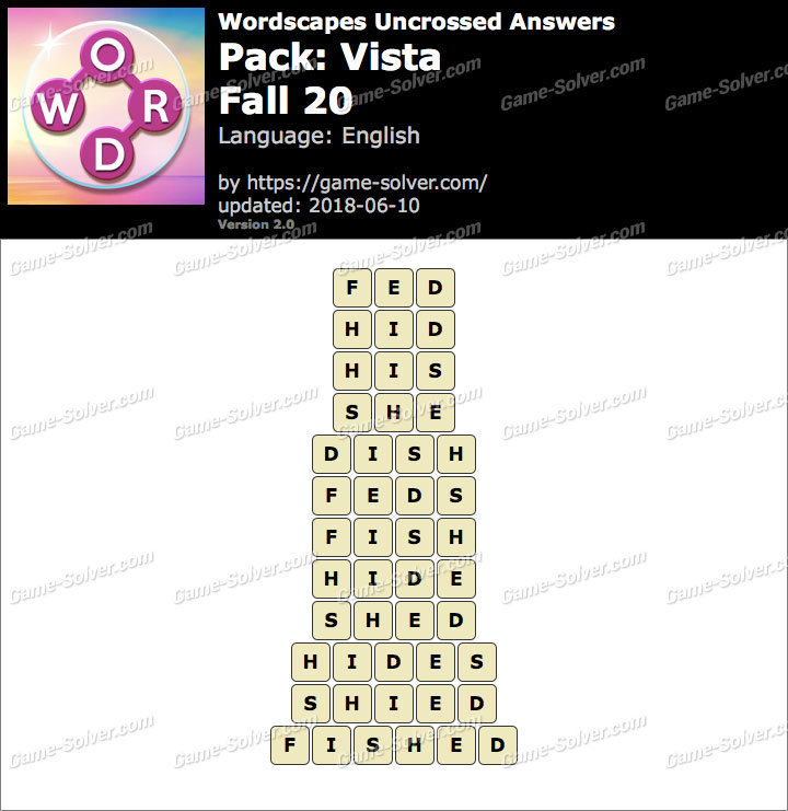 Wordscapes Uncrossed Vista-Fall 20 Answers