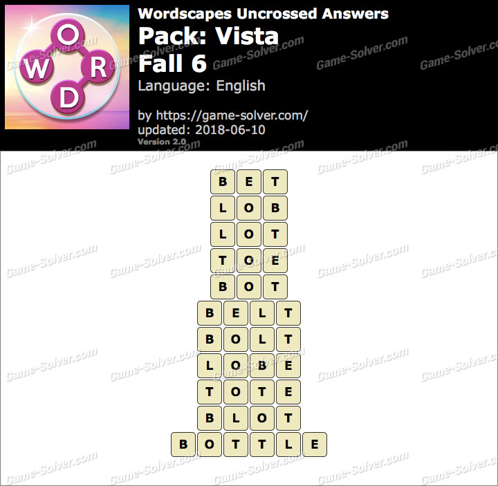 Wordscapes Uncrossed Vista-Fall 6 Answers