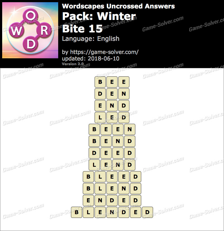 Wordscapes Uncrossed Winter-Bite 15 Answers