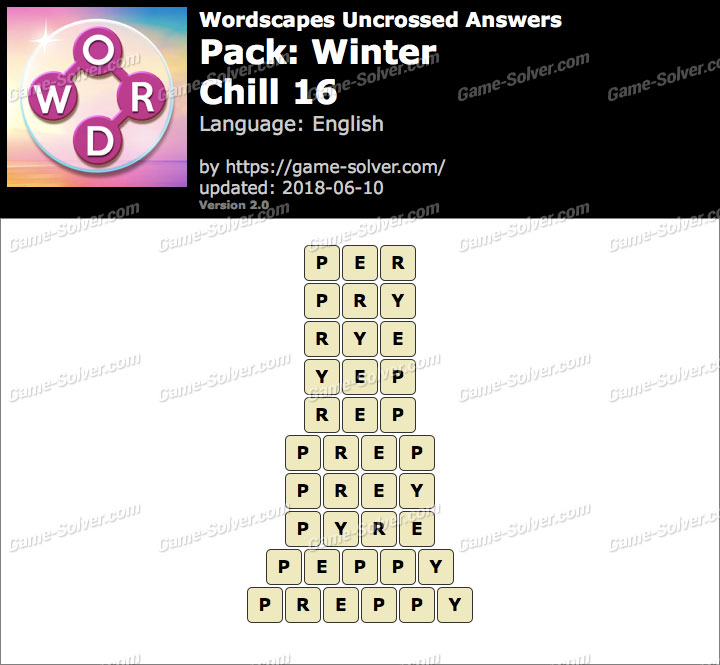 Wordscapes Uncrossed Winter-Chill 16 Answers