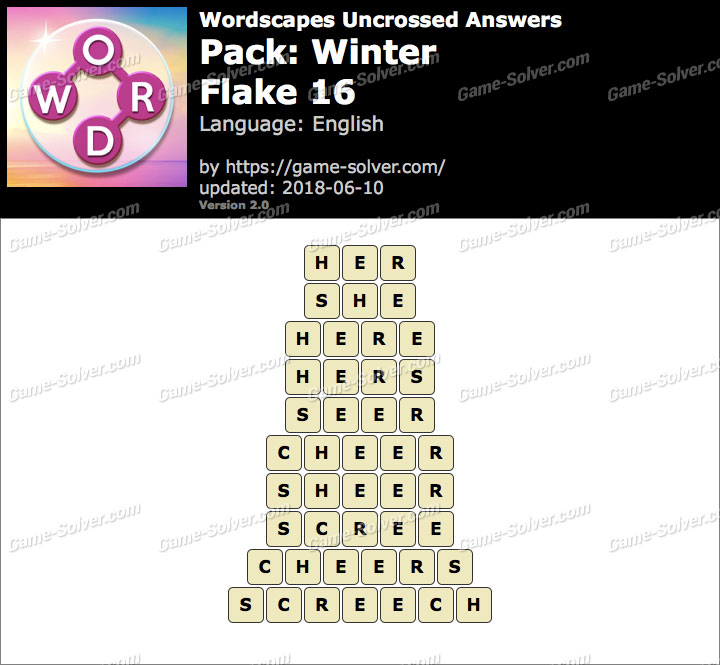 Wordscapes Uncrossed Winter-Flake 16 Answers