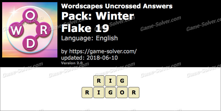 Wordscapes Uncrossed Winter-Flake 19 Answers