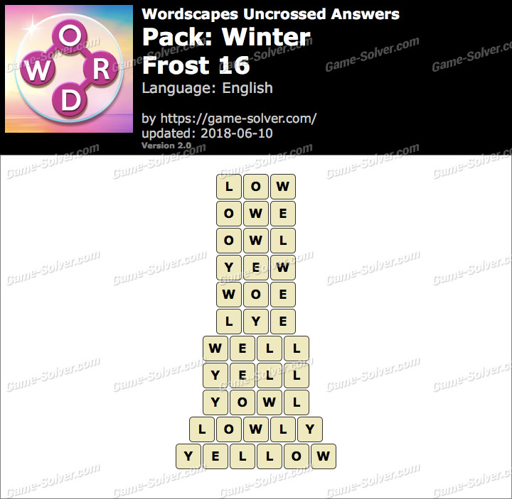 Wordscapes Uncrossed Winter-Frost 16 Answers