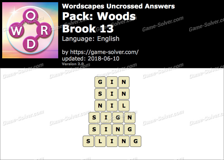 Wordscapes Uncrossed Woods-Brook 13 Answers