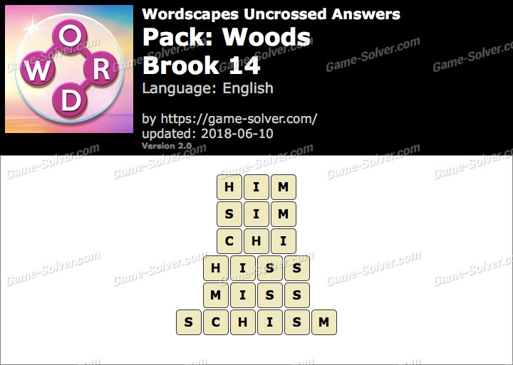 Wordscapes Uncrossed Woods-Brook 14 Answers