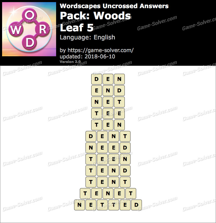 Wordscapes Uncrossed Woods-Leaf 5 Answers