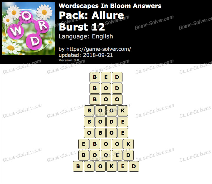 Wordscapes In Bloom Allure-Burst 12 Answers