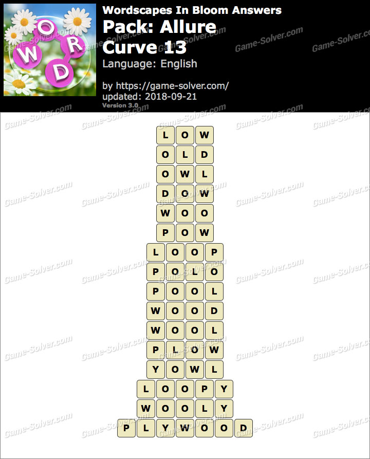 Wordscapes In Bloom Allure-Curve 13 Answers