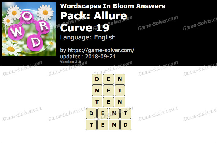 Wordscapes In Bloom Allure-Curve 19 Answers