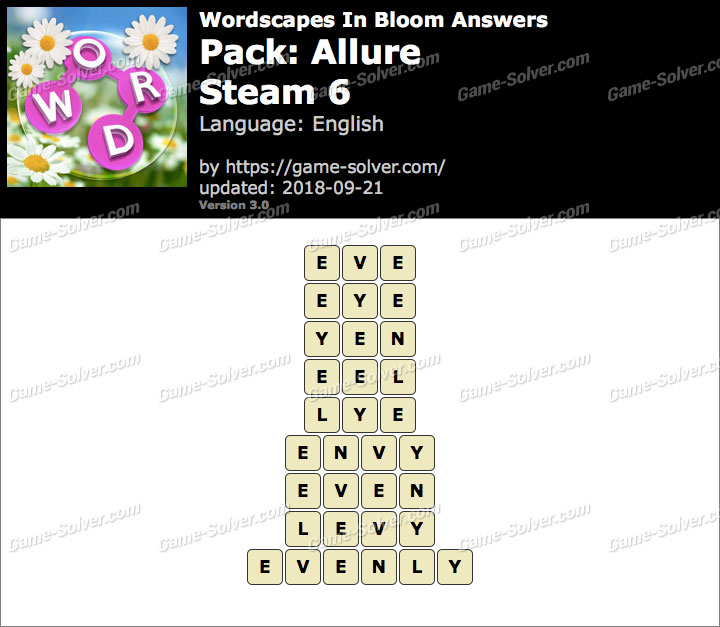 Wordscapes In Bloom Allure-Steam 6 Answers