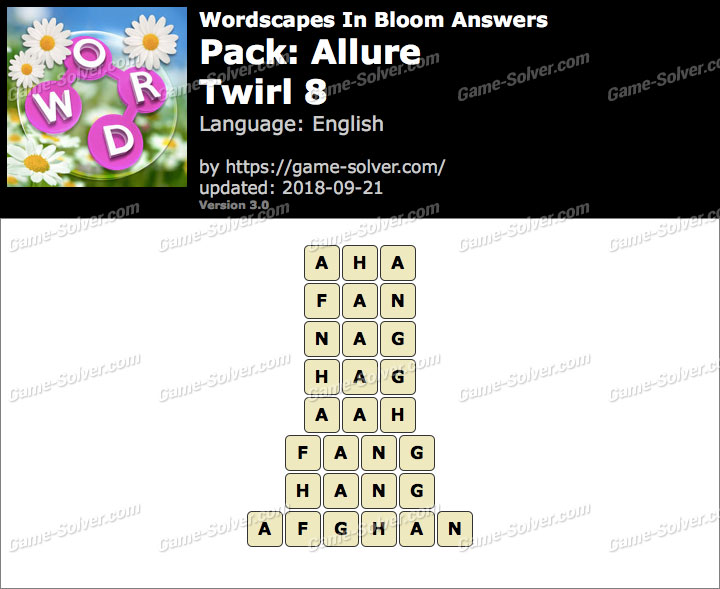 Wordscapes In Bloom Allure-Twirl 8 Answers