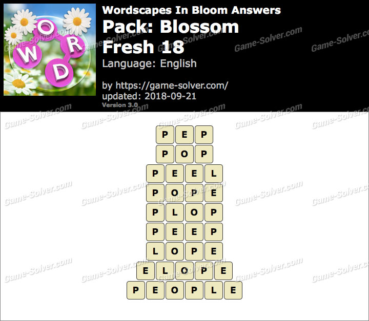 Wordscapes In Bloom Blossom-Fresh 18 Answers