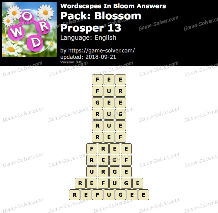 Wordscapes In Bloom Blossom-Prosper 13 Answers