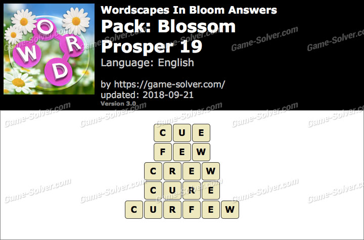 Wordscapes In Bloom Blossom-Prosper 19 Answers