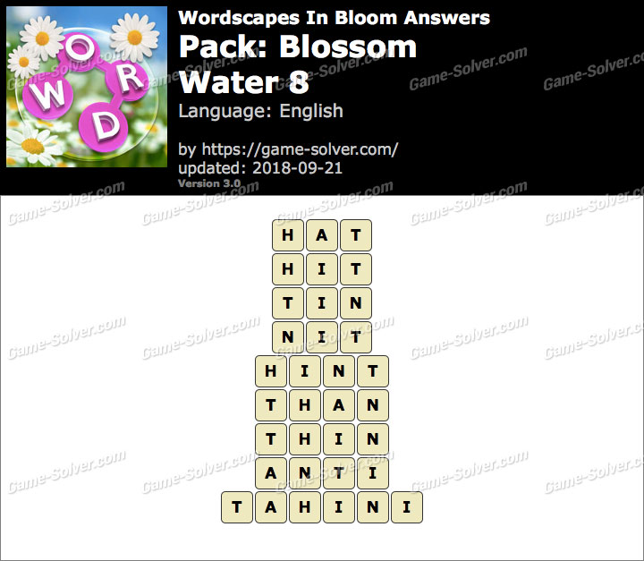 Wordscapes In Bloom Blossom-Water 8 Answers
