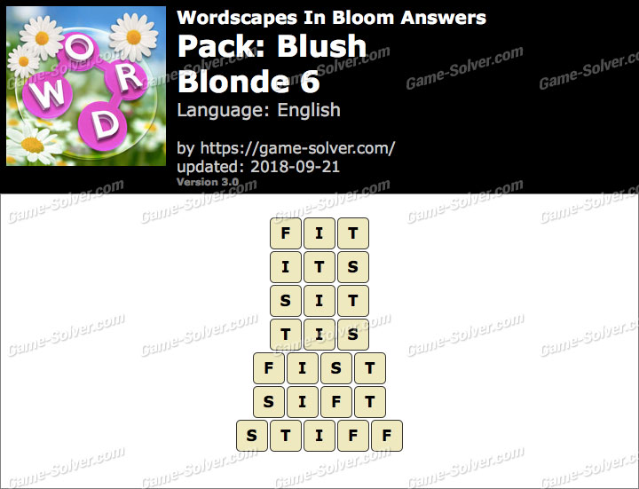 Wordscapes In Bloom Blush-Blonde 6 Answers