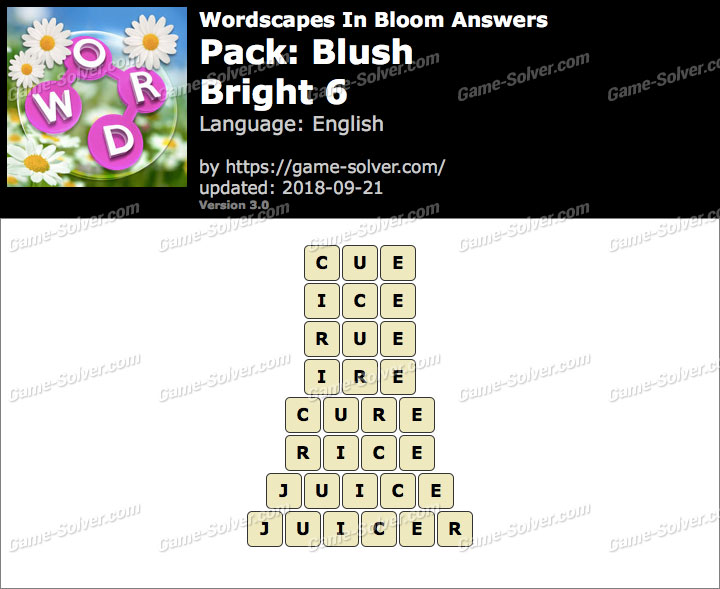 Wordscapes In Bloom Blush-Bright 6 Answers