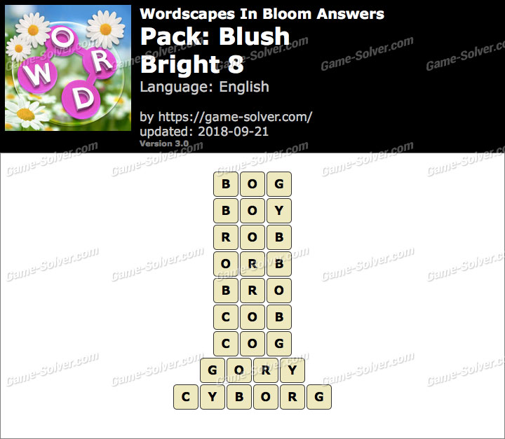 Wordscapes In Bloom Blush-Bright 8 Answers