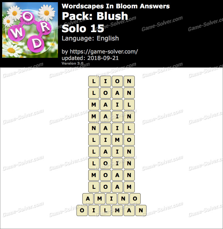 Wordscapes In Bloom Blush-Solo 15 Answers