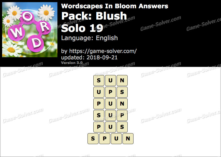 Wordscapes In Bloom Blush-Solo 19 Answers