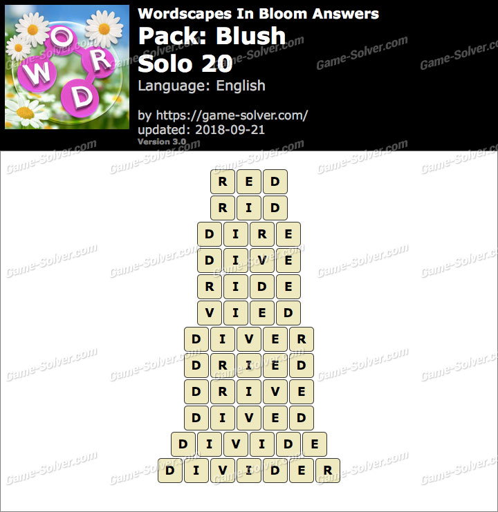 Wordscapes In Bloom Blush-Solo 20 Answers