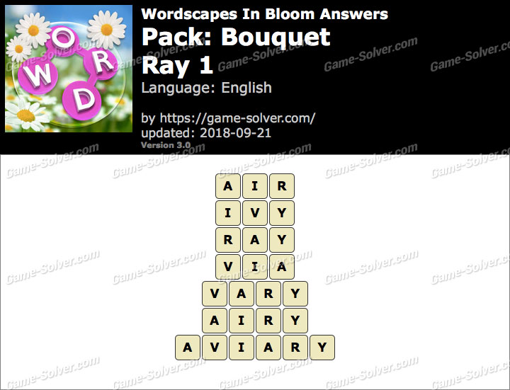 Wordscapes In Bloom Bouquet-Ray 1 Answers