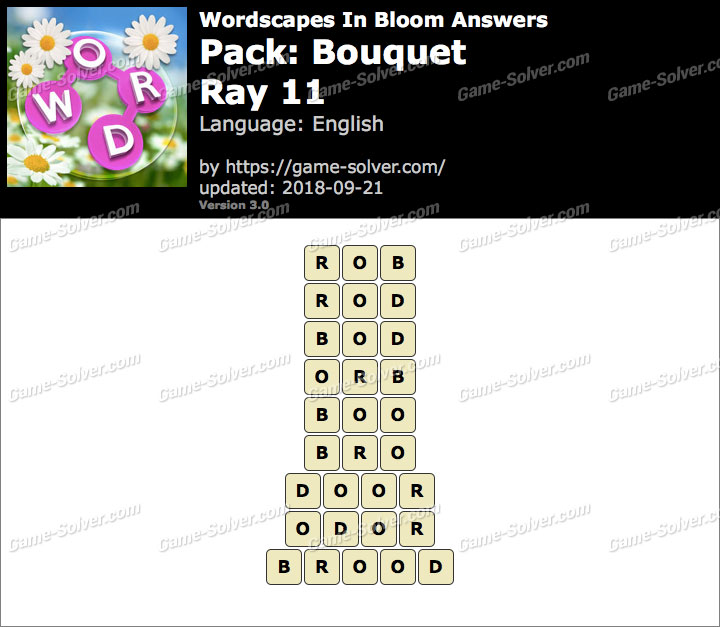 Wordscapes In Bloom Bouquet-Ray 11 Answers