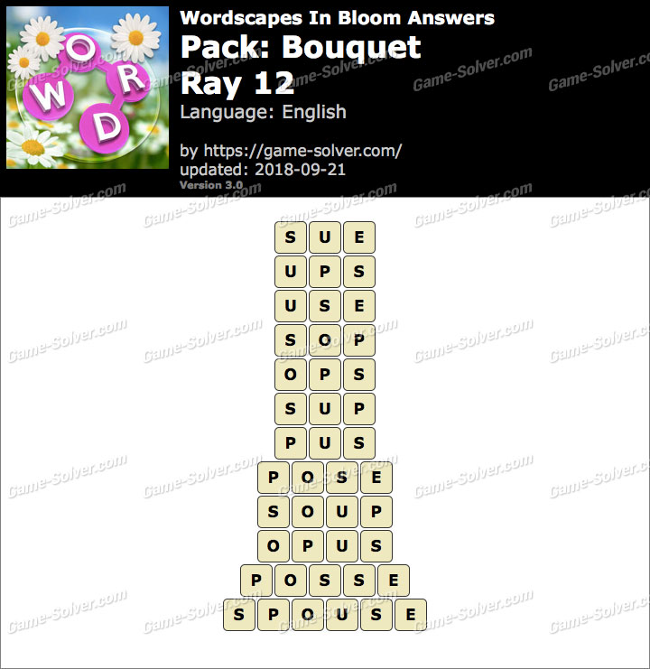 Wordscapes In Bloom Bouquet-Ray 12 Answers