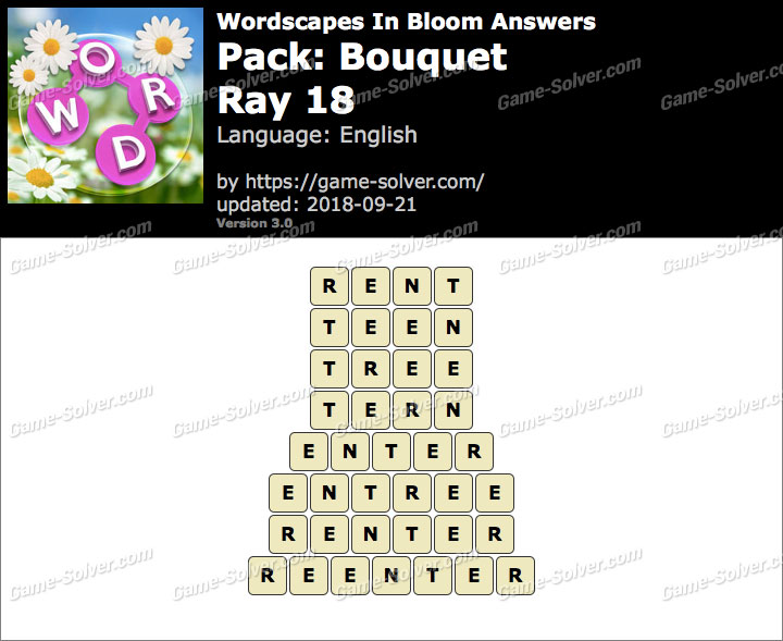 Wordscapes In Bloom Bouquet-Ray 18 Answers