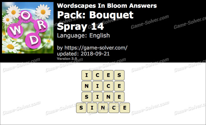 Wordscapes In Bloom Bouquet-Spray 14 Answers