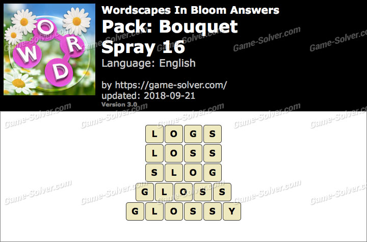 Wordscapes In Bloom Bouquet-Spray 16 Answers