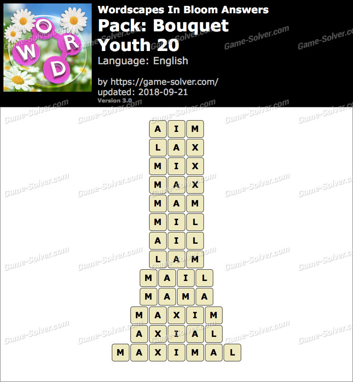 Wordscapes In Bloom Bouquet-Youth 20 Answers
