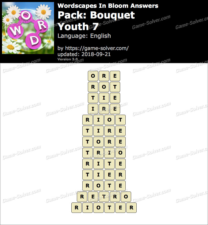 Wordscapes In Bloom Bouquet-Youth 7 Answers