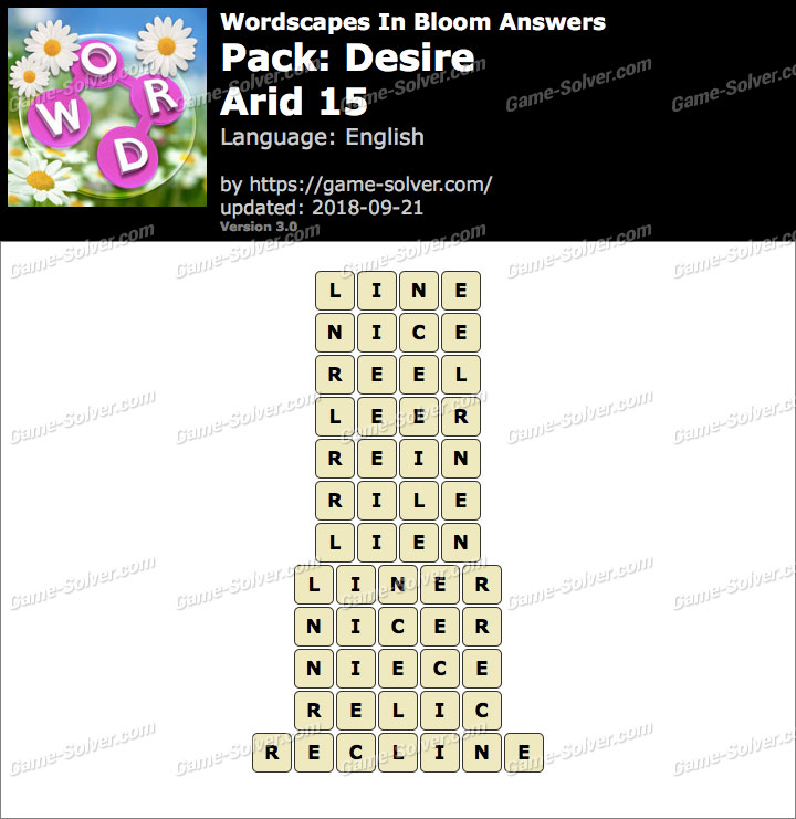 Wordscapes In Bloom Desire-Arid 15 Answers