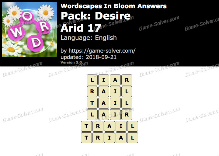 Wordscapes In Bloom Desire-Arid 17 Answers