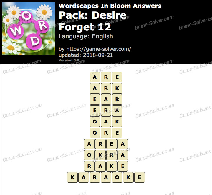 Wordscapes In Bloom Desire-Forget 12 Answers