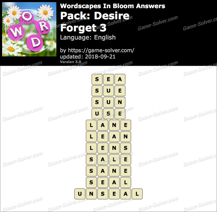Wordscapes In Bloom Desire-Forget 3 Answers