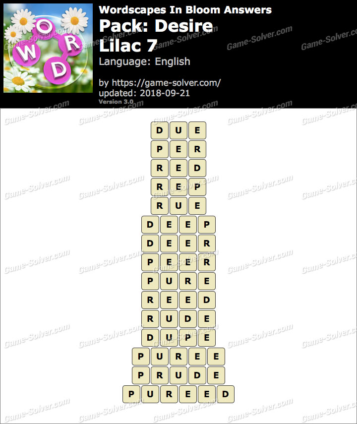 Wordscapes In Bloom Desire-Lilac 7 Answers