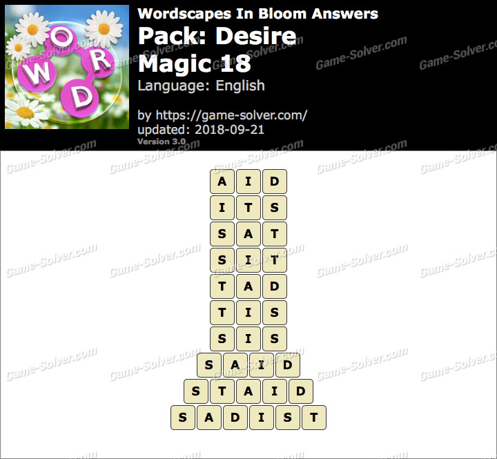 Wordscapes In Bloom Desire-Magic 18 Answers