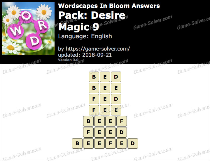 Wordscapes In Bloom Desire-Magic 9 Answers