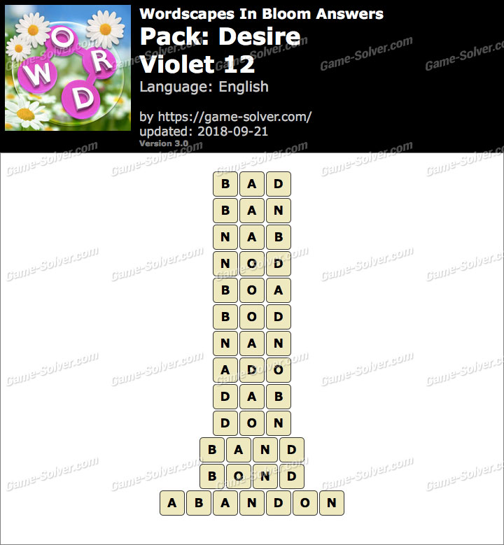 Wordscapes In Bloom Desire-Violet 12 Answers