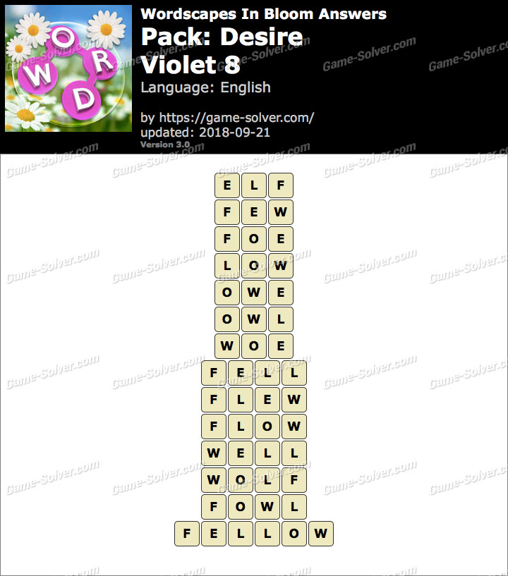 Wordscapes In Bloom Desire-Violet 8 Answers