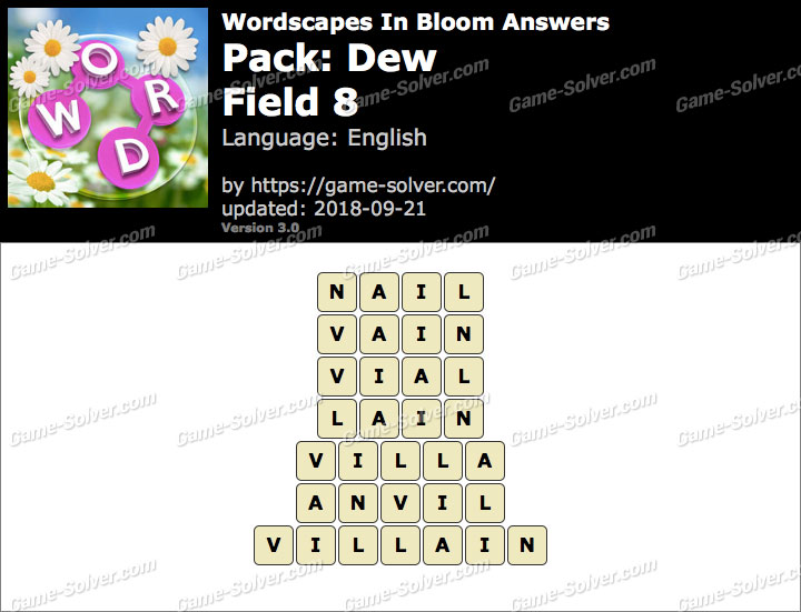 Wordscapes In Bloom Dew-Field 8 Answers