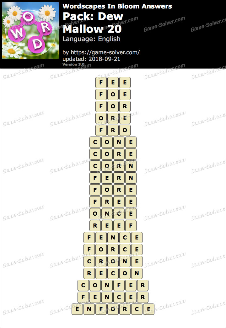 Wordscapes In Bloom Dew-Mallow 20 Answers