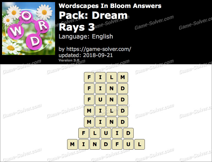 Wordscapes In Bloom Dream-Rays 3 Answers