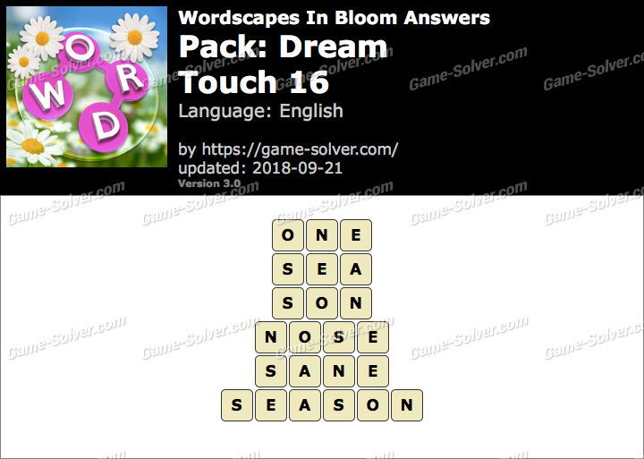 Wordscapes In Bloom Dream-Touch 16 Answers