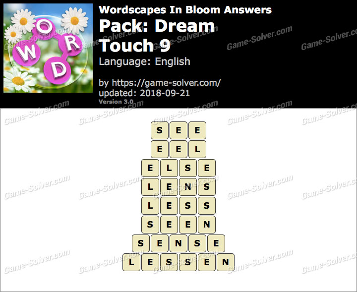 Wordscapes In Bloom Dream-Touch 9 Answers